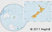 Political Location Map of New Zealand, lighten, desaturated, land only