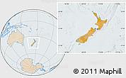 Political Location Map of New Zealand, lighten