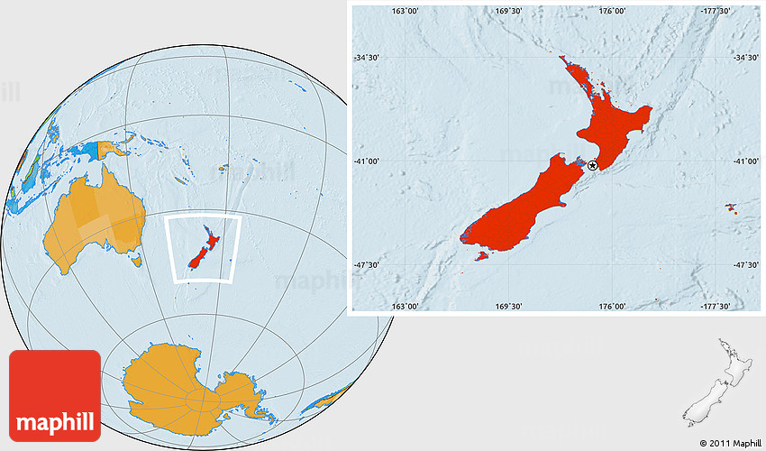 New Zealand Global Map.Political Location Map Of New Zealand