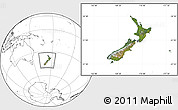 Satellite Location Map of New Zealand, blank outside