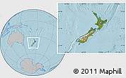 Satellite Location Map of New Zealand, gray outside, hill shading