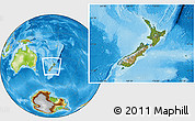 Satellite Location Map of New Zealand, physical outside