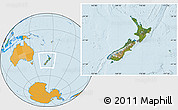Satellite Location Map of New Zealand, political outside