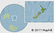 Satellite Location Map of New Zealand, savanna style outside, hill shading