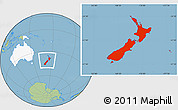 Savanna Style Location Map of New Zealand, highlighted continent