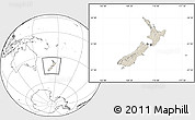 Shaded Relief Location Map of New Zealand, blank outside
