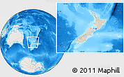 Shaded Relief Location Map of New Zealand, lighten, land only