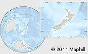 Shaded Relief Location Map of New Zealand, lighten