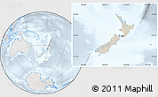 Shaded Relief Location Map of New Zealand, lighten, semi-desaturated