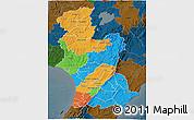 Political 3D Map of Manawatu-Wanganui, darken