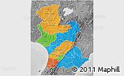 Political 3D Map of Manawatu-Wanganui, desaturated