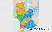 Political 3D Map of Manawatu-Wanganui, lighten
