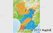 Political 3D Map of Manawatu-Wanganui, physical outside