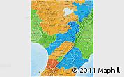 Political 3D Map of Manawatu-Wanganui, political shades outside