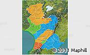Political 3D Map of Manawatu-Wanganui, satellite outside