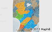 Political 3D Map of Manawatu-Wanganui, semi-desaturated