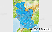 Political Shades 3D Map of Manawatu-Wanganui, physical outside