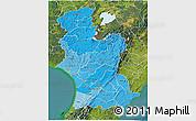 Political Shades 3D Map of Manawatu-Wanganui, satellite outside