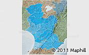 Political Shades 3D Map of Manawatu-Wanganui, semi-desaturated