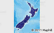 Flag Map of New Zealand, political shades outside