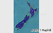Flag Map of New Zealand, satellite outside