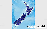 Flag Map of New Zealand, shaded relief outside