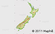 Physical Map of New Zealand, cropped outside