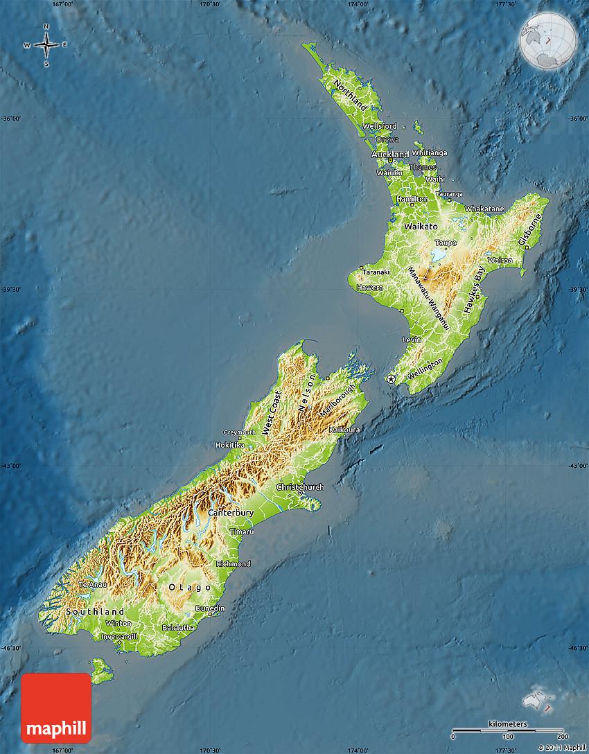 Physical Map of New Zealand darken