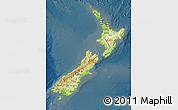 Physical Map of New Zealand, darken