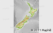 Physical Map of New Zealand, desaturated