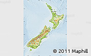 Physical Map of New Zealand, lighten