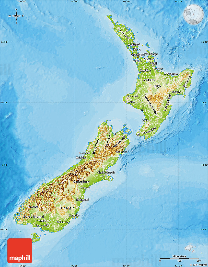 Physical Map of New Zealand, political outside