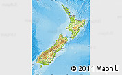 Physical Map of New Zealand, political outside, shaded relief sea