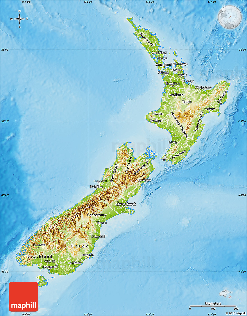 Political Map Of New Zealand.Physical Map Of New Zealand Political Shades Outside Shaded Relief Sea