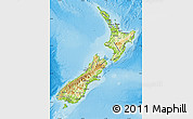 Physical Map of New Zealand, political shades outside, shaded relief sea
