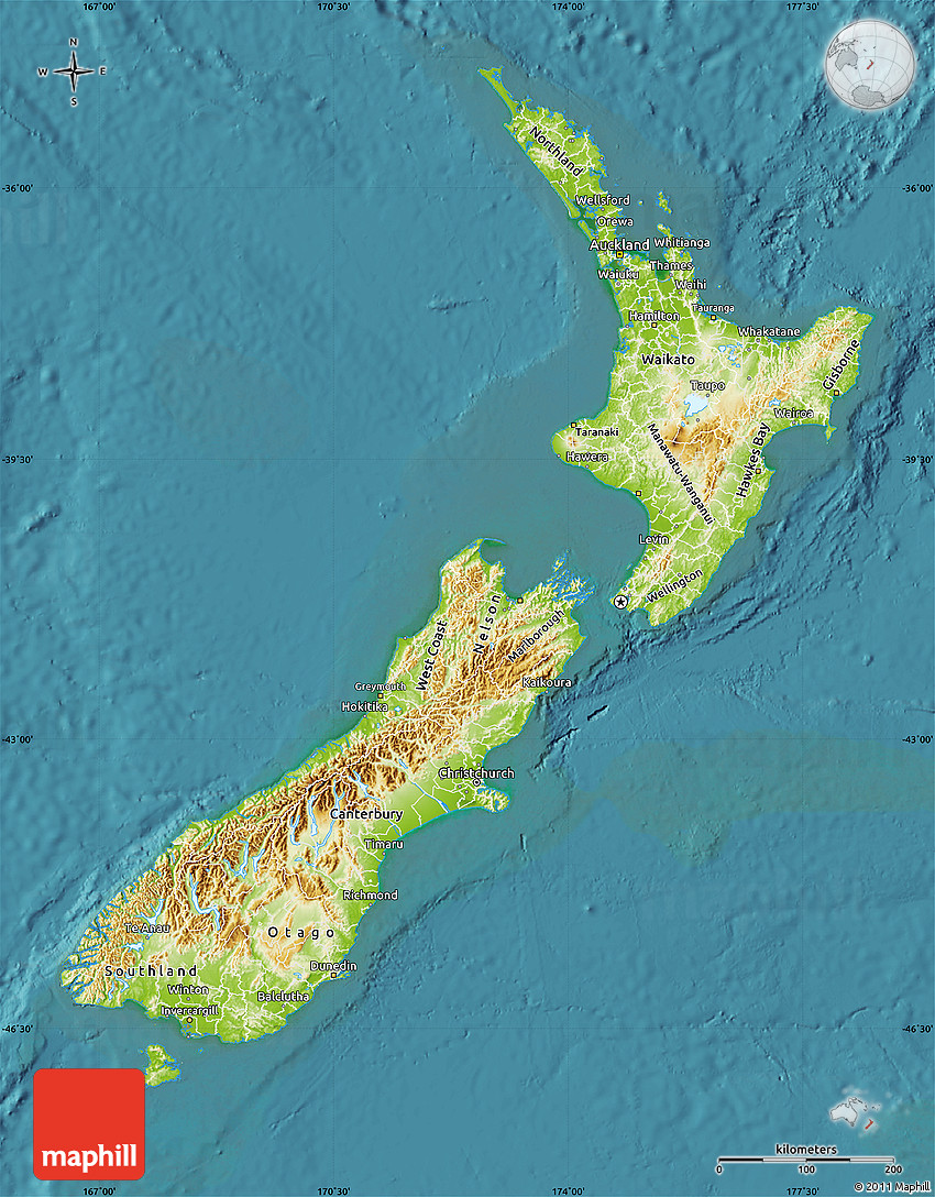 Physical Map of New Zealand satellite outside