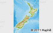 Physical Map of New Zealand, satellite outside, shaded relief sea