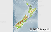 Physical Map of New Zealand, semi-desaturated