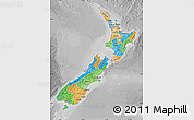 Political Map of New Zealand, desaturated