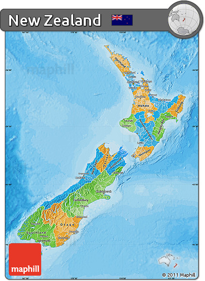 Free Political Map of New Zealand