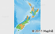 Political Map of New Zealand, physical outside