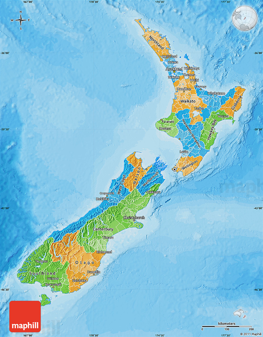 Political Map Of New Zealand.Political Map Of New Zealand