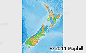 Political Map of New Zealand, political shades outside
