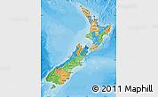 Political Map of New Zealand, satellite outside, bathymetry sea
