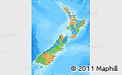 Political Map of New Zealand, semi-desaturated, land only