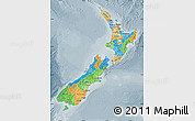 Political Map of New Zealand, semi-desaturated