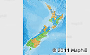 Political Map of New Zealand, shaded relief outside, bathymetry sea