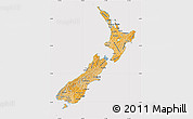 Political Shades Map of New Zealand, cropped outside