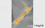 Political Shades Map of New Zealand, darken, desaturated