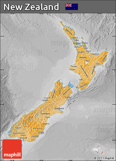 Political Shades Map of New Zealand, desaturated